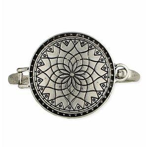 Bracelet, Silvertone Mandala Cuff